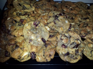 White & Dark Chocolate Cranberry Almond Cookies!