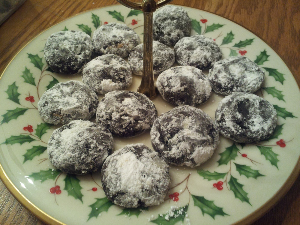 Peanut Butter Filled Chocolate Crinkle Cookies!