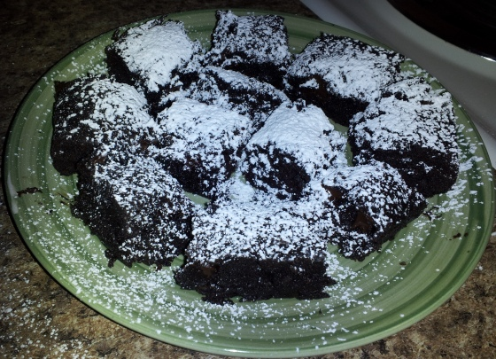 Dark Chocolate Sour Cream Brownies and Powdered Sugar!
