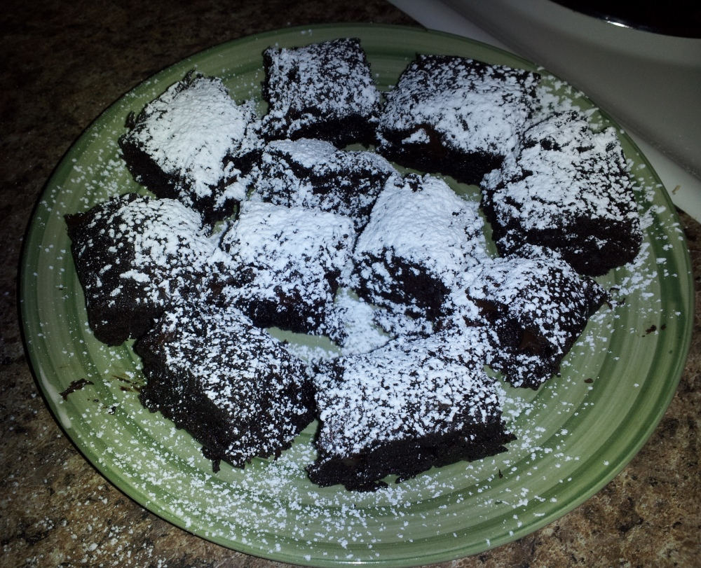 Dark Chocolate Sour Cream Brownies with Powdered Sugar!