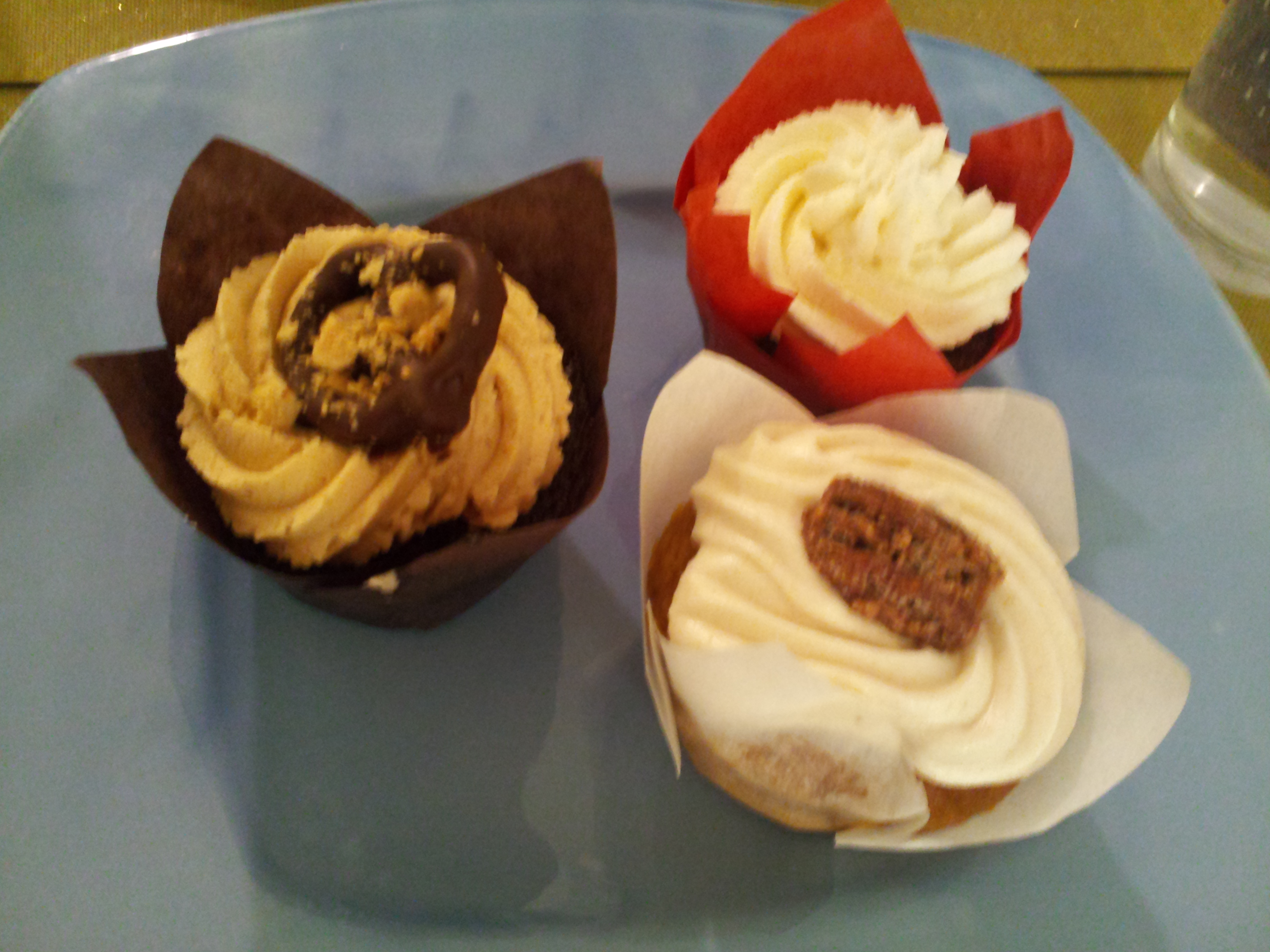 ... cupcakes with candied pecans. I left the red wine cupcakes to simply