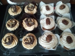 Chocolate Cupcakes with Peanut Butter Frosting, and Pumpkin Cupcakes with Honey Cinnamon Cream Cheese Frosting!