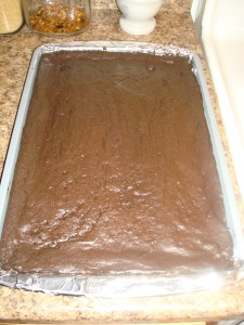 Baileys Brownies in pan!