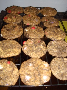 Oatmeal M&M Cookies with Baileys Brownie Chunks!