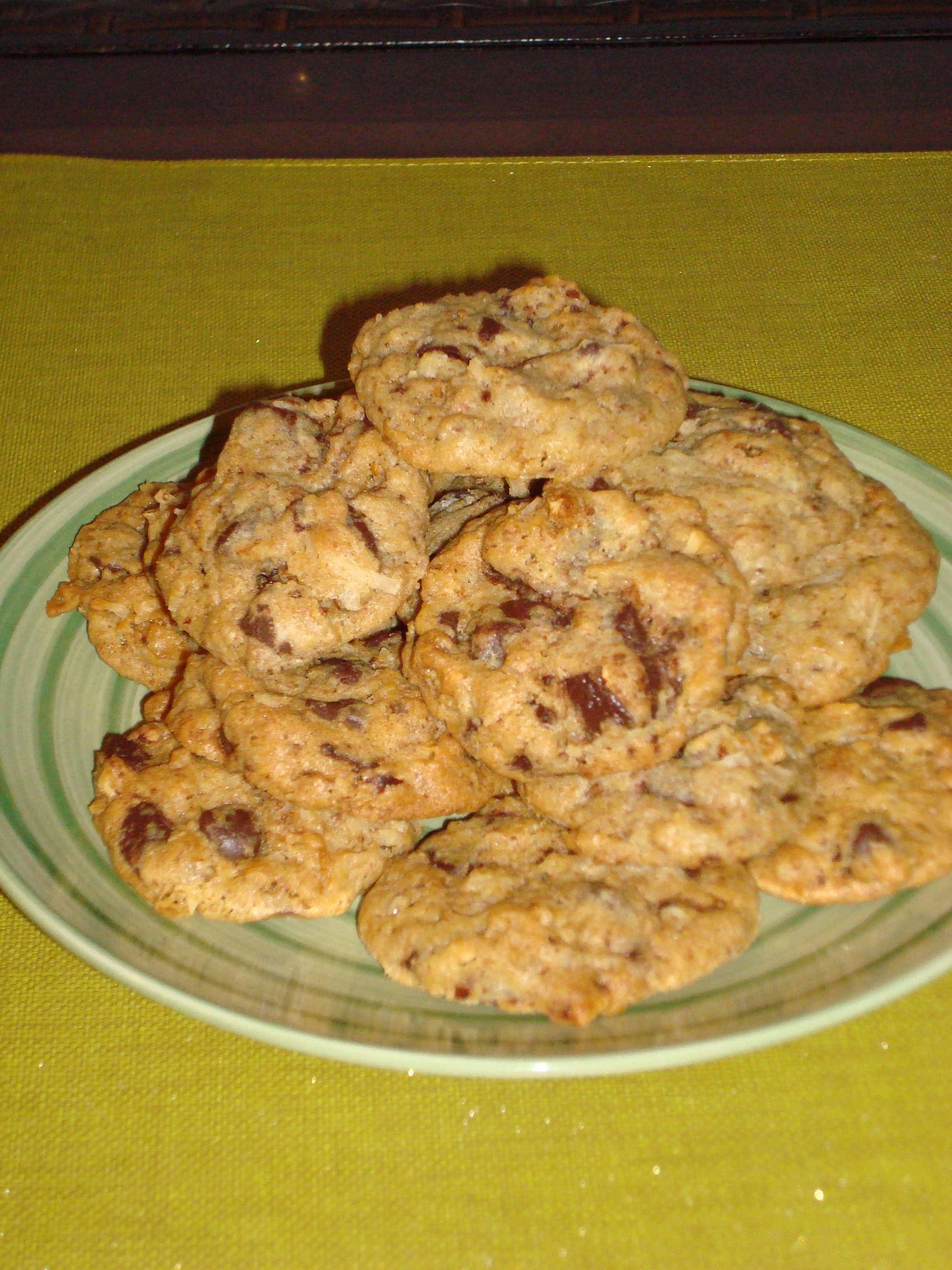 chocolate chip cookies with dark chocolate chunks almonds coconut and