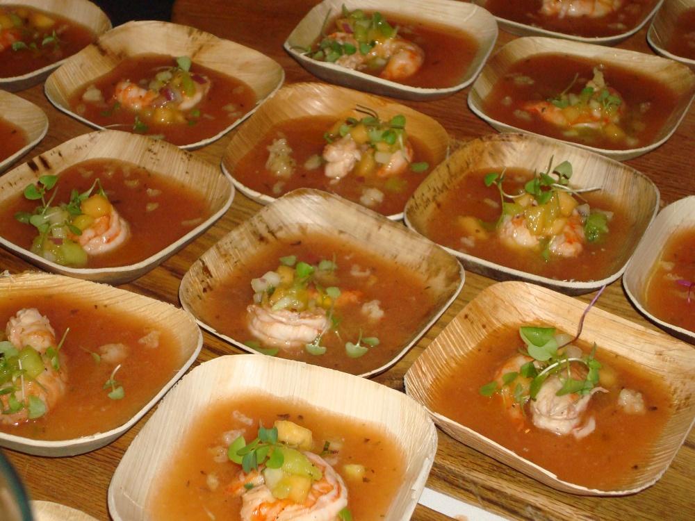 Hennepin Saison Pickled Carolina Shrimp With Spiked Melon & Tomato Gazpacho