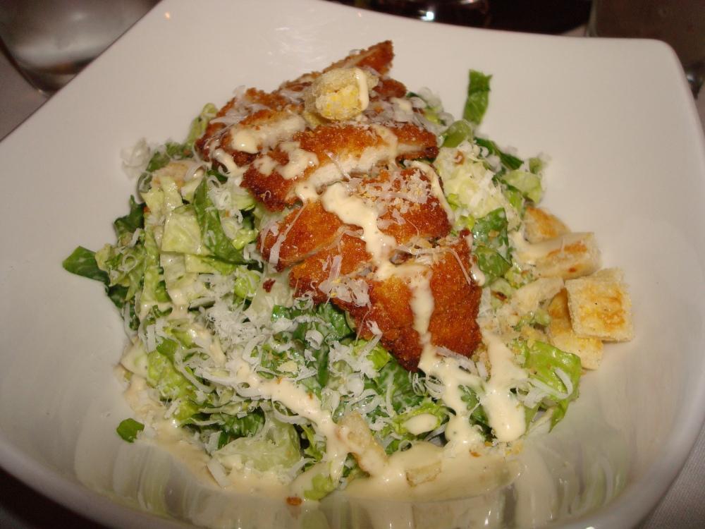 parmesan crusted crispy chicken / baby romaine / parmigiano reggiano / flatbread croutons