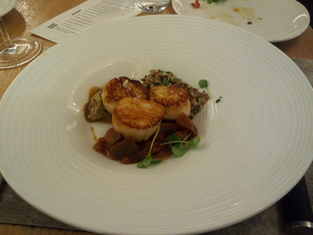 scallops sweet and sour eggplant quinoa miso vinagrette