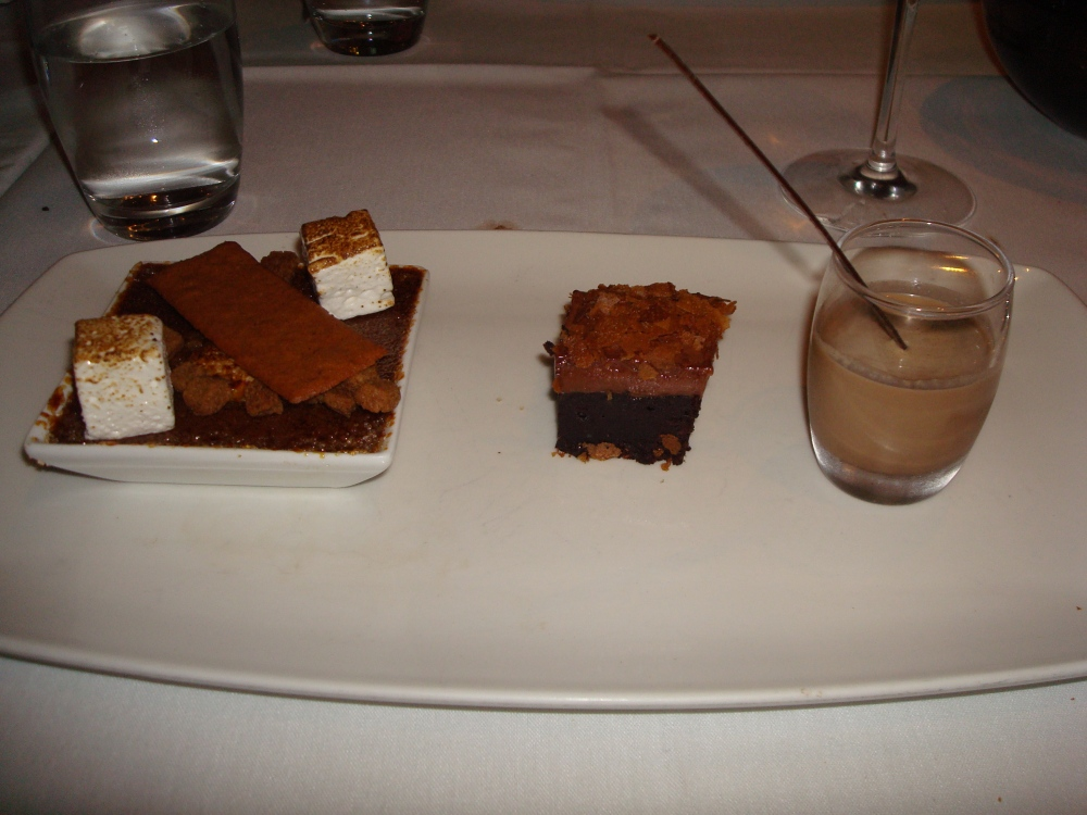 chocolate crèmebrulee /toastedmarshmallow/ graham crumble / chocolate buttercream brownie / chocolate malted shooter