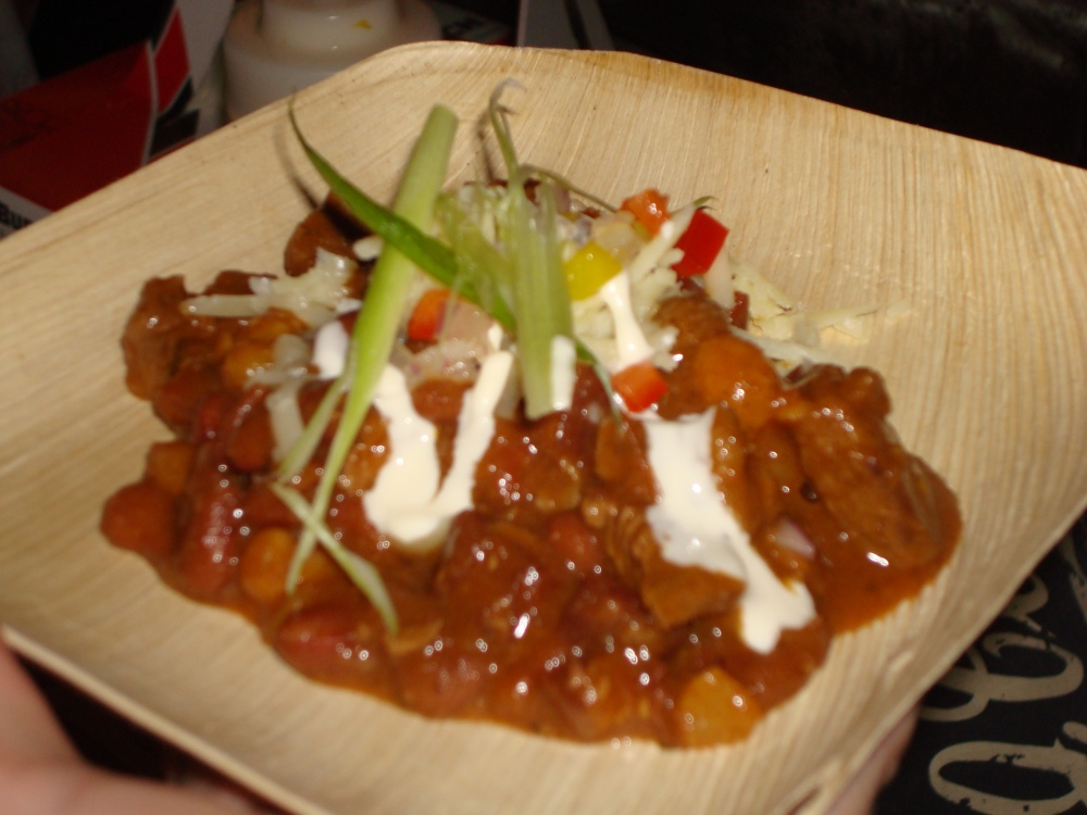 Hand-Cut Sirloin Chili with Roasted Jalapenos, Cheddar, & Sour Cream w/ Ommegang Abbey