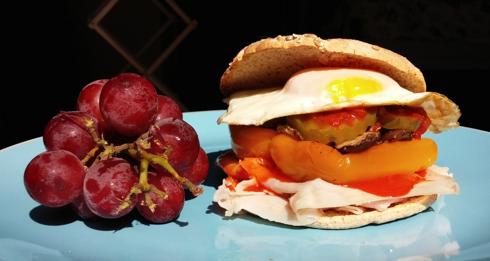 egg sandwich with grapes